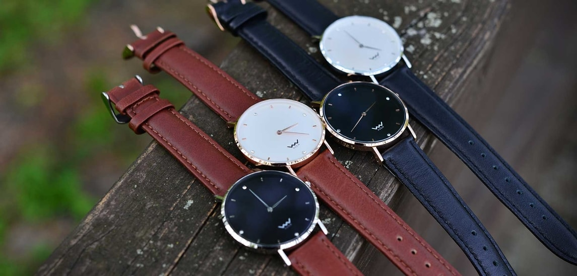 Leather strap Silver Brown
